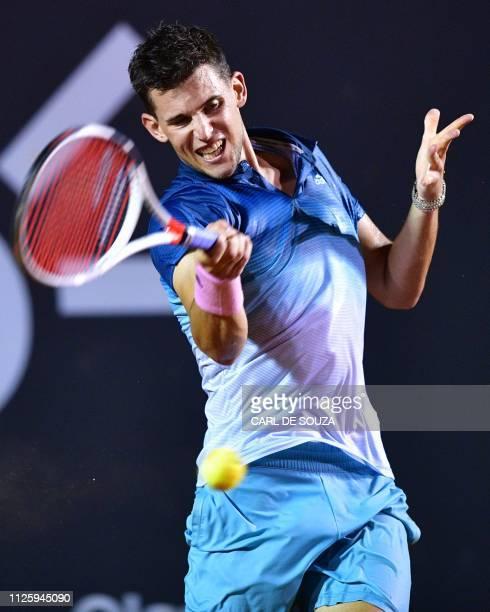 Austria's Dominic Thiem against Serbia's Laslo Djere during their ATP World Tour Rio Open singles match at the Jockey Club in Rio de Janeiro on...