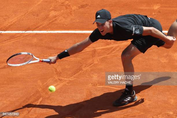 Austria's Dominic Thiem celebrates after winning his tennis match against Russia's Andrey Rublev during the MonteCarlo ATP Masters Series Tournament...
