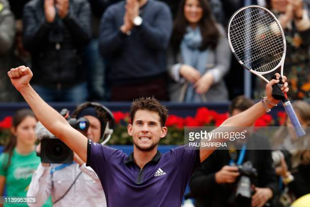 Austria's Dominic Thiem celebrates defeating Russia's Daniil Medvedev during the ATP Tour Barcelona Open final tennis match in Barcelona on April 28...