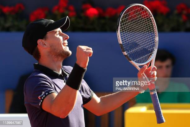 Austria's Dominic Thiem celebrates winning Spain's Rafael Nadal during the ATP Tour Barcelona Open semifinal tennis match in Barcelona on April 27...