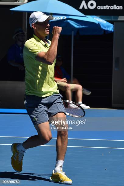 Austria's Dominic Thiem during hits a return against Denis Kudla of the US their men's singles second round match on day four of the Australian Open...