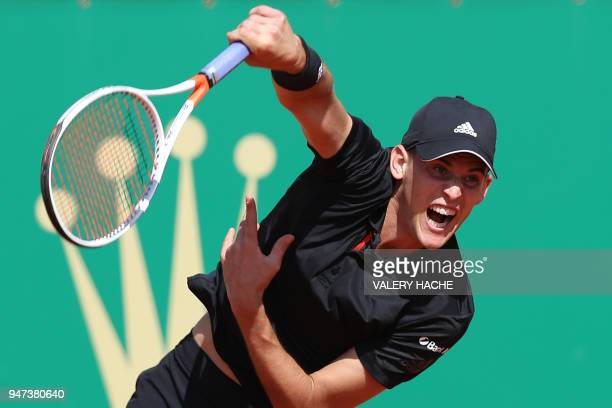 Austria's Dominic Thiem eyes the ball during his tennis match against Russia's Andrey Rublev as part of the MonteCarlo ATP Masters Series Tournament...