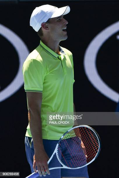 Austria's Dominic Thiem reacts after a point against Denis Kudla of the US their men's singles second round match on day four of the Australian Open...