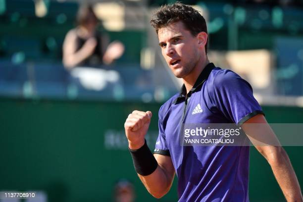 Austria's Dominic Thiem reacts during his tennis match against Slovakia's Martin Klizan on the day 5 of the MonteCarlo ATP Masters Series tournament...