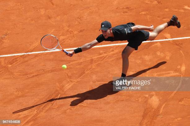 TOPSHOT Austria's Dominic Thiem returns the ball to Russia's Andrey Rublev during their tennis match as part of the MonteCarlo ATP Masters Series...