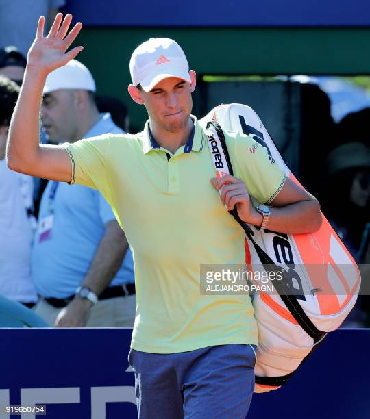 Austria's Dominic Thiem waves before the ATP Argentina Open semifinal tennis match against France's Gael Monfils in Buenos Aires Argentina on...