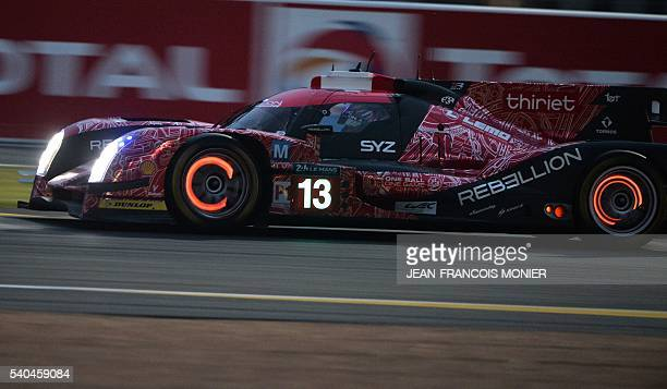 Austria's Dominik Kraihamer drives his Rebellion ROneAER N°13 during the first qualifying practice session of the 84th Le Mans 24 hours endurance...