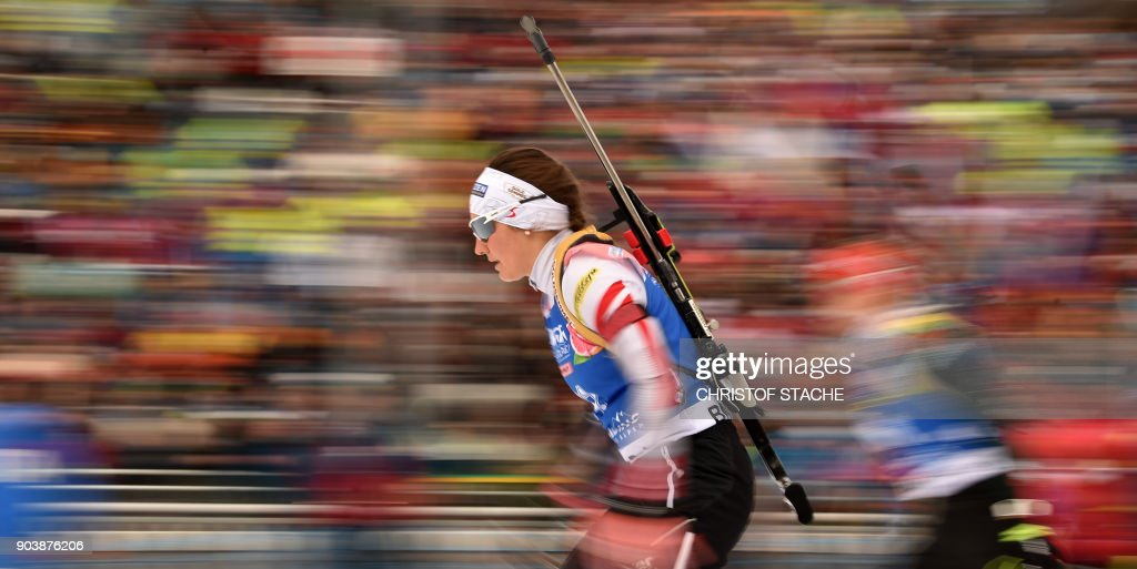 TOPSHOT - Austria's Dunja Zdouc competes during the women's 15 km individual event at the Biathlon World Cup on January 11, 2018 in Ruhpolding, southern Germany. /