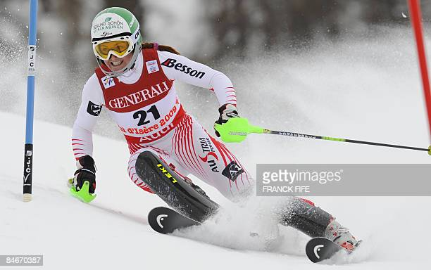 Austria's Elisabeth Goergl competes during the women's super combined slalom at the World Ski Championships on February 6 2009 in Val d'Isere French...