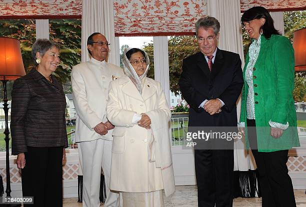 Austria's First lady Margit Fischer husband of Pratibha Devisingh Patil Devsingh Ransingh Shekhawat India's President Pratibha Devisingh Patil...