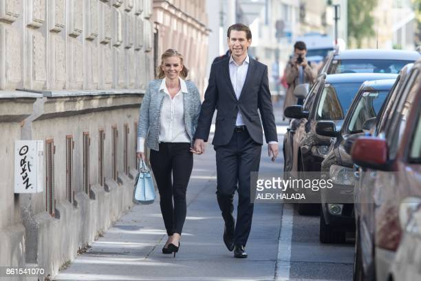 Austria's Foreign Minister and leader of Austria's centreright People's Party Sebastian Kurz and his partner Susanne Thier are pictured in front of a...