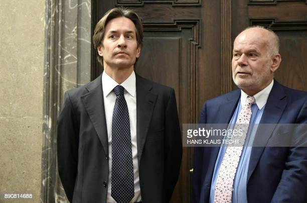Austria's former Finance Minister KarlHeinz Grasser and his attorney Manfred Ainedter wait for the start of the trial against Austria's former...