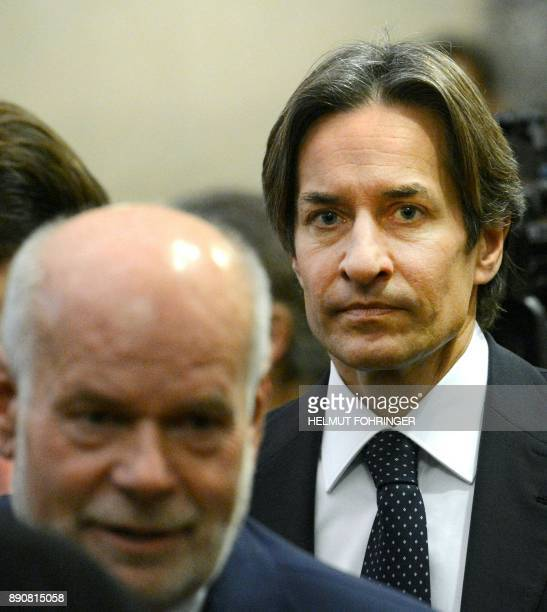 Austria's former Finance Minister KarlHeinz Grasser waits for the start of his trial concerning the commissions paid upon the privatization of the...