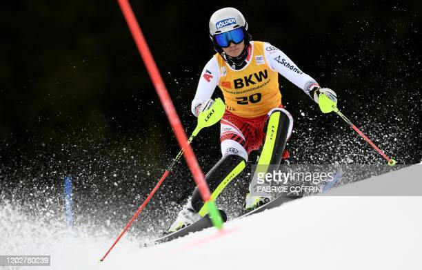 Austria's Franziska Gritsch competes during the women's Slalom event at the FIS Alpine Ski World Cup Combined in CransMontana on February 23 2020