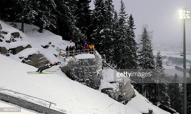 Austria's Gregor Schlierenzauer competes during the FIS Ski Jumping World Cup in Vikersund Norway on January 27 2013 AFP PHOTO/ DANIEL SANNUM LAUTEN