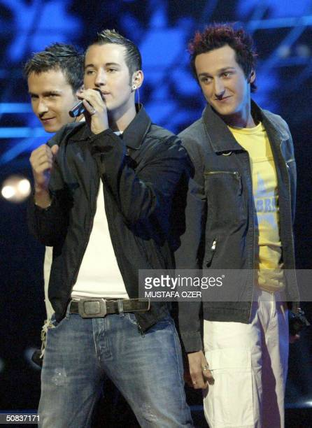 Austria's group TieBreak rehearses in costume for the finals of the 49th Eurovision Song Contest in Istanbul Abdi Ipekci Sport Salon 14 May 2004