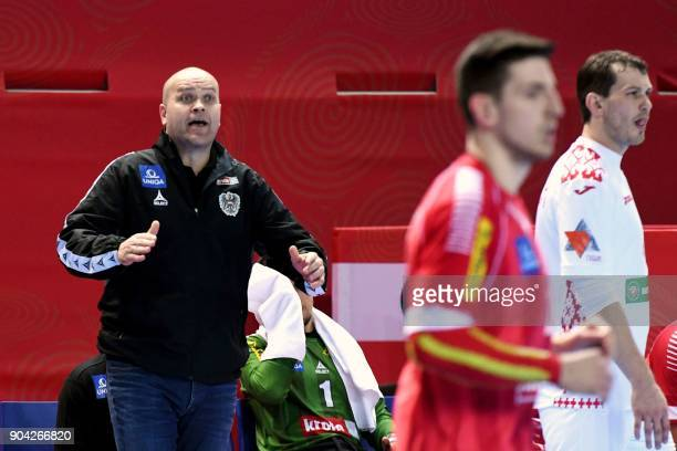 Austria's head coach Patrekur Johannesson reacts during the preliminary round group B match of the Men's 2018 EHF European Handball Championship...