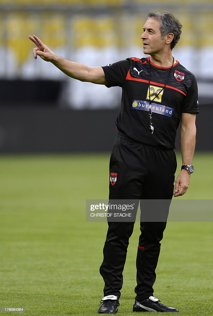 Austria's headcoach Marcel Koller gestures during the final training's session of Austria's national football team in the arena in Munich, southern Germany, on September 5, 2013 on the eve of the FIFA 2014 World Cup group C qualifying football match Germany vs Austria.