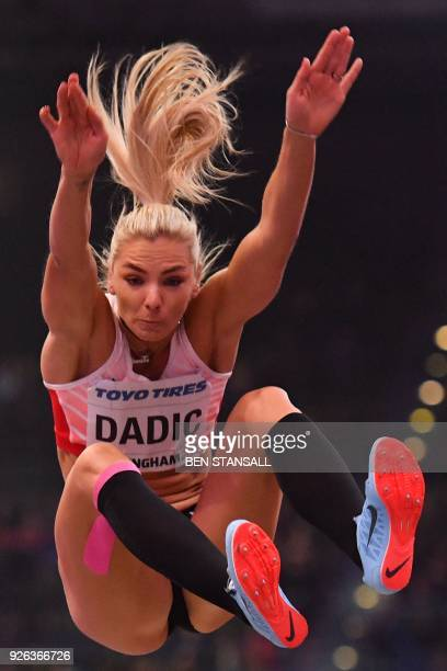 Austria's Ivona Dadic competes in the women's long jump pentathlon event at the 2018 IAAF World Indoor Athletics Championships at the Arena in...