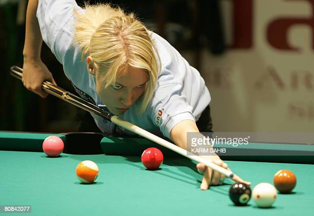 Austria's Jasmin Ouschan plays against Germane Marcus Westen at the World 8Ball pool championship in the Gulf Emirate of Fujeirah on April 23 2008...