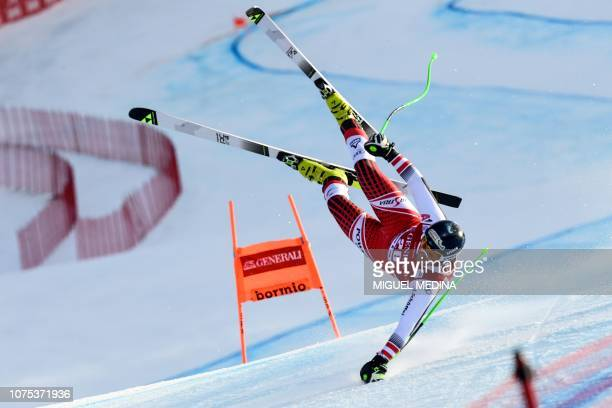 TOPSHOT Austria's Johannes Kroell falls during the FIS Alpine Ski World Cup Men's Downhill competition on December 28 2018 in Bormio in the Italian...