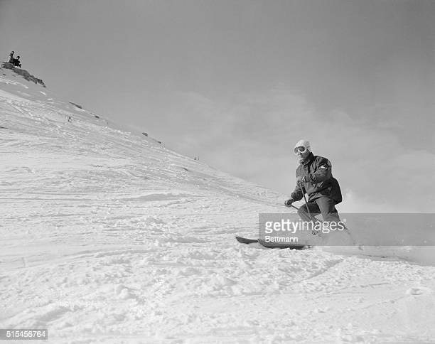 Austria's Josl Rieder, one of the top favorites for the downhill Olympic title, trains during the 1956 Winter Olympics on Mount Faloria.