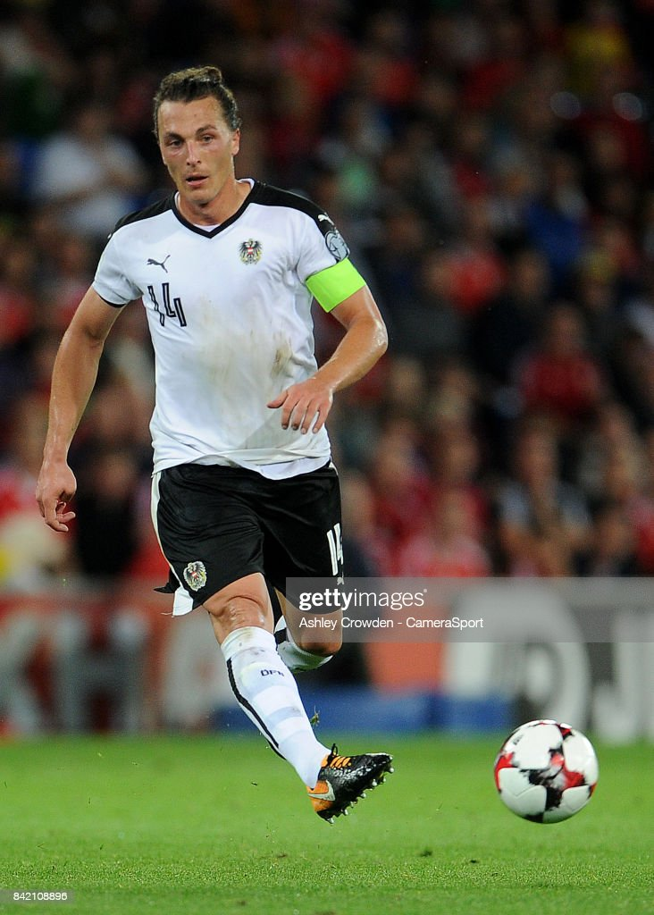 Austrias Julian Baumgartlinger during the FIFA 2018 World Cup Qualifier between Wales and Austria at Cardiff City Stadium on September 2, 2017 in Cardiff, Wales.