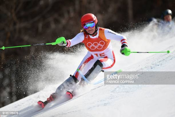 TOPSHOT Austria's Katharina Gallhuber competes in the Women's Slalom at the Jeongseon Alpine Center during the Pyeongchang 2018 Winter Olympic Games...
