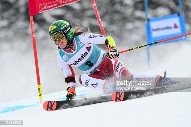 Austria's Katharina Liensberger competes in the first run of the Women's Giant Slalom event during the FIS Alpine ski World Cup in Lenzerheide, on...