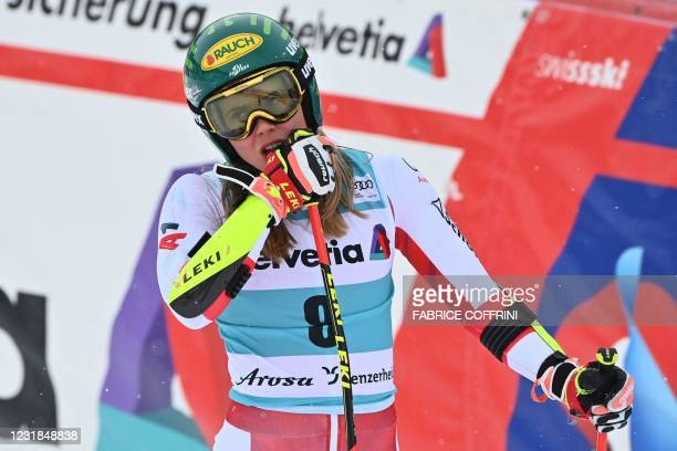 Austria's Katharina Liensberger reacts in the finishing area after competing in the second run of the Women's Giant Slalom event during the FIS...