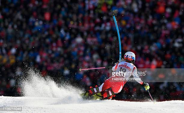 Austria's Katharina Truppe competes in the second run of the women's slalom event at the 2019 FIS Alpine Ski World Championships at the National...