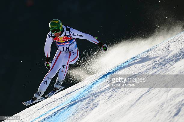 Austria's Klaus Kroell competes during the men's World Cup Downhill training on January 24 2013 in Kitzbuehel AFP PHOTO / OLIVIER MORIN