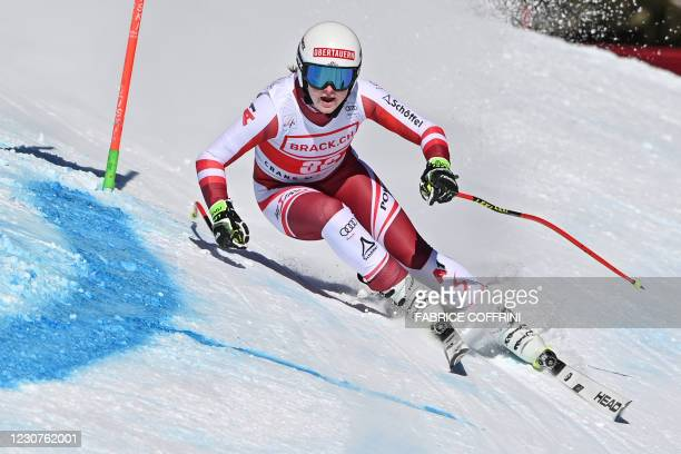 Austria's Lisa Grill competes during the Women's Super G event at the FIS Alpine Ski World Cup in Crans-Montana, Switzerland, on January 24, 2021.