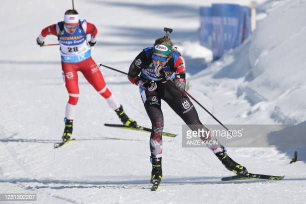 Austria's Lisa Theresa Hauser competes in the Women's 12,5 km Mass Start event at the IBU Biathlon World Championships in Pokljuka, Slovenia, on...