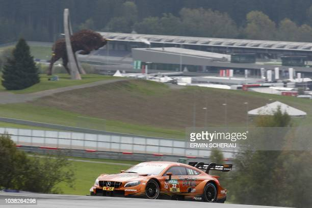 """Austria's Lucas Auer of the Silberpfeil Energy Mercedes-AMG Motorsport, takes part in the third free practice session at the DTM """"Deutsche..."""