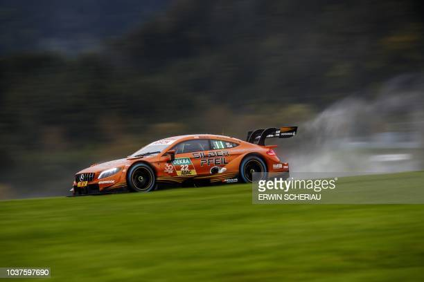 Austria's Lucas Auer takes part in the second free practice session at the DTM Deutsche Tourenwagen Meisterschaft at the Red Bull Ring in Spielberg...
