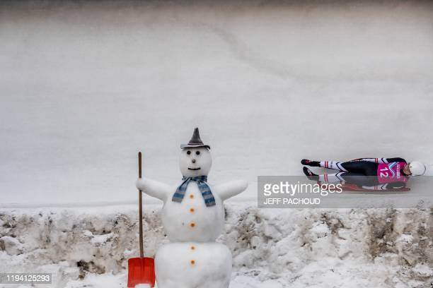TOPSHOT Austria's luge athlete Madlen Loss competes in the Womens single race at the Saint Moritz natural luge track in St Moritz during the 2020...