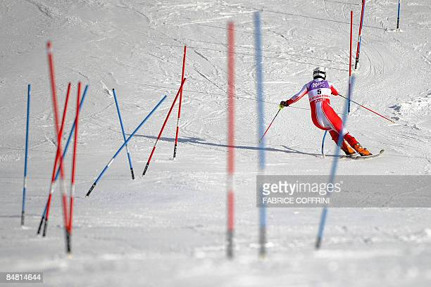 Austria's Manfred Pranger competes during the men's slalom second run at the World Ski Championships in Val d'Isere French Alps on February 15 2009...