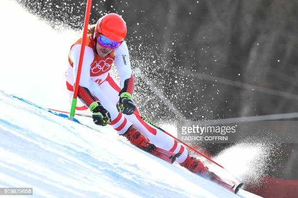Austria's Manuel Feller competes in the Men's Giant Slalom at the Jeongseon Alpine Center during the Pyeongchang 2018 Winter Olympic Games in...