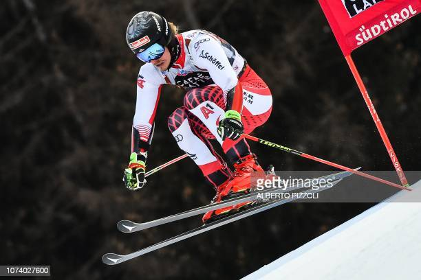 Austria's Manuel Feller competes in the the FIS Alpine World Cup Men Giant Slalom on December 16, 2018 in Alta Badia, Italian Alps.