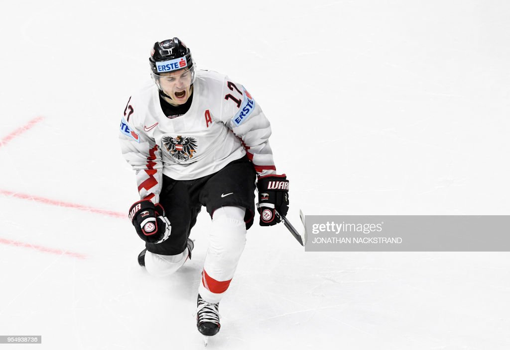 Austria's Manuel Ganahl celebrates after scoring a goal during the group A match Switzerland vs Austria of the 2018 IIHF Ice Hockey World Championship at the Royal Arena in Copenhagen, Denmark, on May 5, 2018.