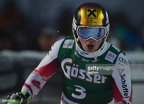 Austria's Marcel Hirscher, after finishing second in the famous Hahnenkamm course during the men's Alpine Combined - Slalom, at the FIS SKI World Cup...