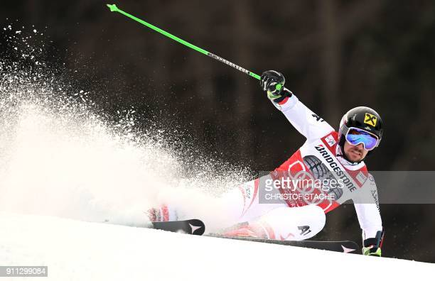 Austria's Marcel Hirscher competes during the men's Giant Slalom first run at the FIS Alpine Skiing World Cup in GarmischPartenkirchen southern...