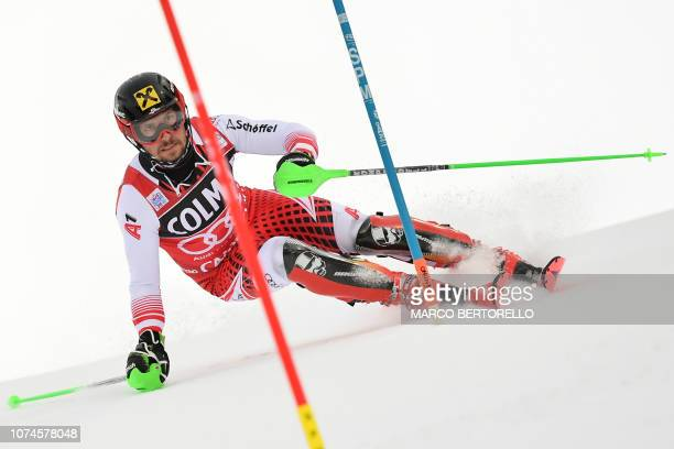 Austria's Marcel Hirscher competes in the first run of the FIS Alpine World Cup Men's Slalom on December 22 2018 in Madonna di Campiglio Italian Alps