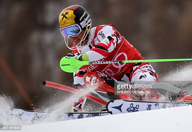 Austria's Marcel Hirscher competes in the first run of the FIS World Cup Alpine Men's Slalom on December 13 in Vald'Isere French Alps / AFP /...