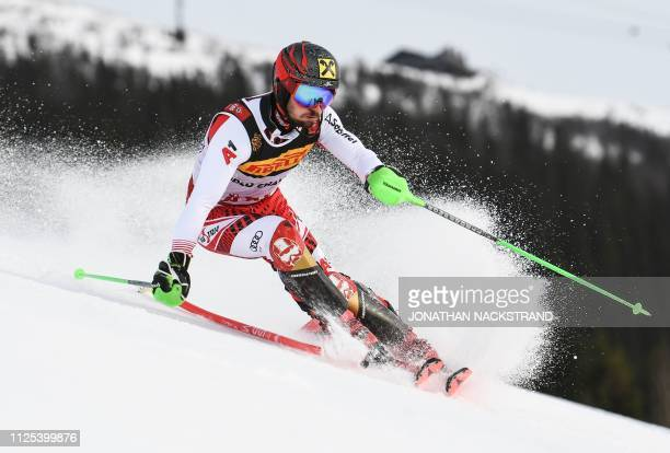 TOPSHOT Austria's Marcel Hirscher competes in the first run of the men's slalom event at the 2019 FIS Alpine Ski World Championships at the National...