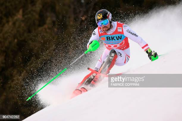 Austria's Marcel Hirscher competes in the first run of the men's Slalom race at the FIS Alpine Skiing World Cup in Wengen on January 14 2018 / AFP...