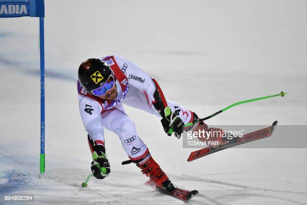 Austria's Marcel Hirscher competes in the FIS Alpine World Cup Men's Parallel Giant Slalom on December 18 2017 in Alta Badia Italian Alps / AFP PHOTO...