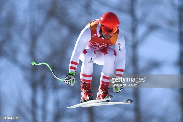 Austria's Marcel Hirscher competes in the Men's Alpine Combined Downhill at the Jeongseon Alpine Center during the Pyeongchang 2018 Winter Olympic...