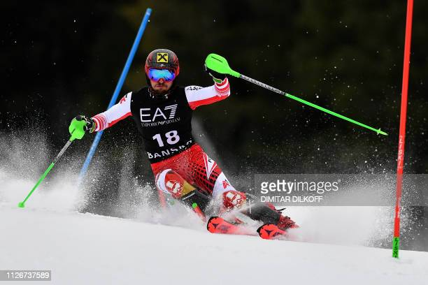 TOPSHOT Austria's Marcel Hirscher competes in the men's alpine combined of the FIS Alpine Ski World Cup in Bansko on February 22 2019
